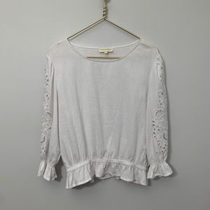 CYNTHIA ROWLY Embroidered ¾ Sleeve Linen Top